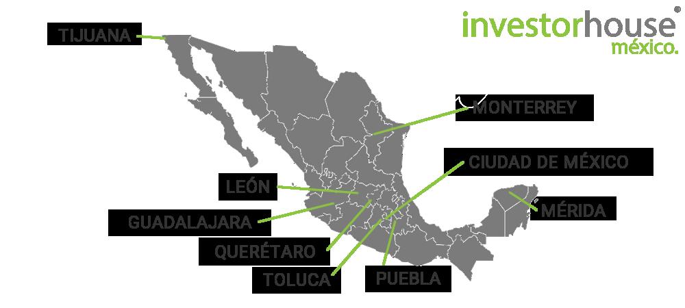 Mapa de Ciudades de Cursos de Bolsa en México.